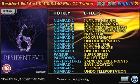 Resident Evil 6 1.0-1.0.3.140 +14 Trainer [FliNG]