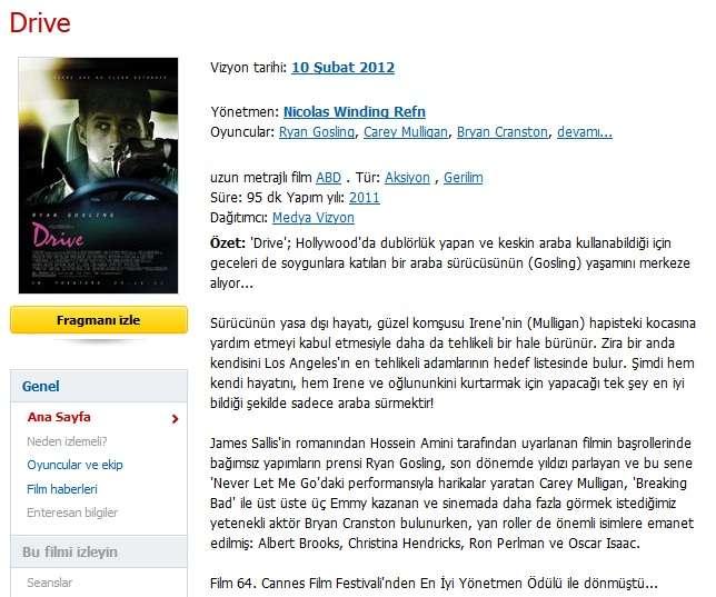 Drive - 2011 BRRip XviD AC3 - Türkçe Altyazılı indir
